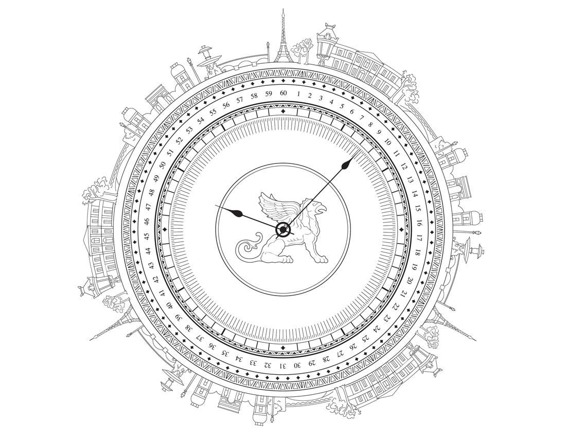 """illustration """"Clock"""" pour Cognac Bisquit"""