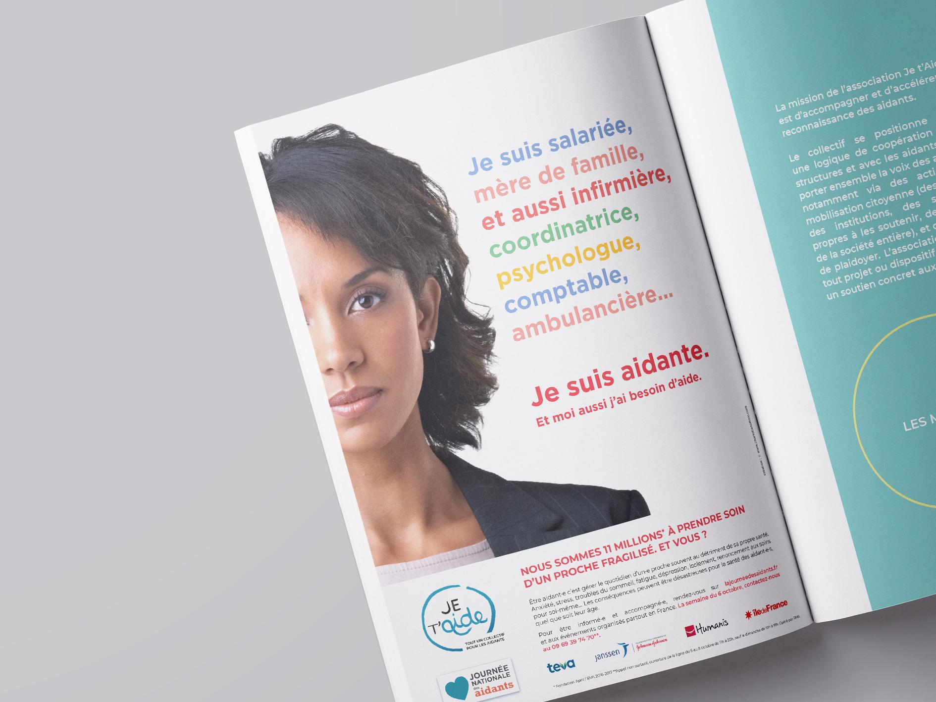 Annonc presse. Campagne de communication pour Collectif Je t'aide. 2018